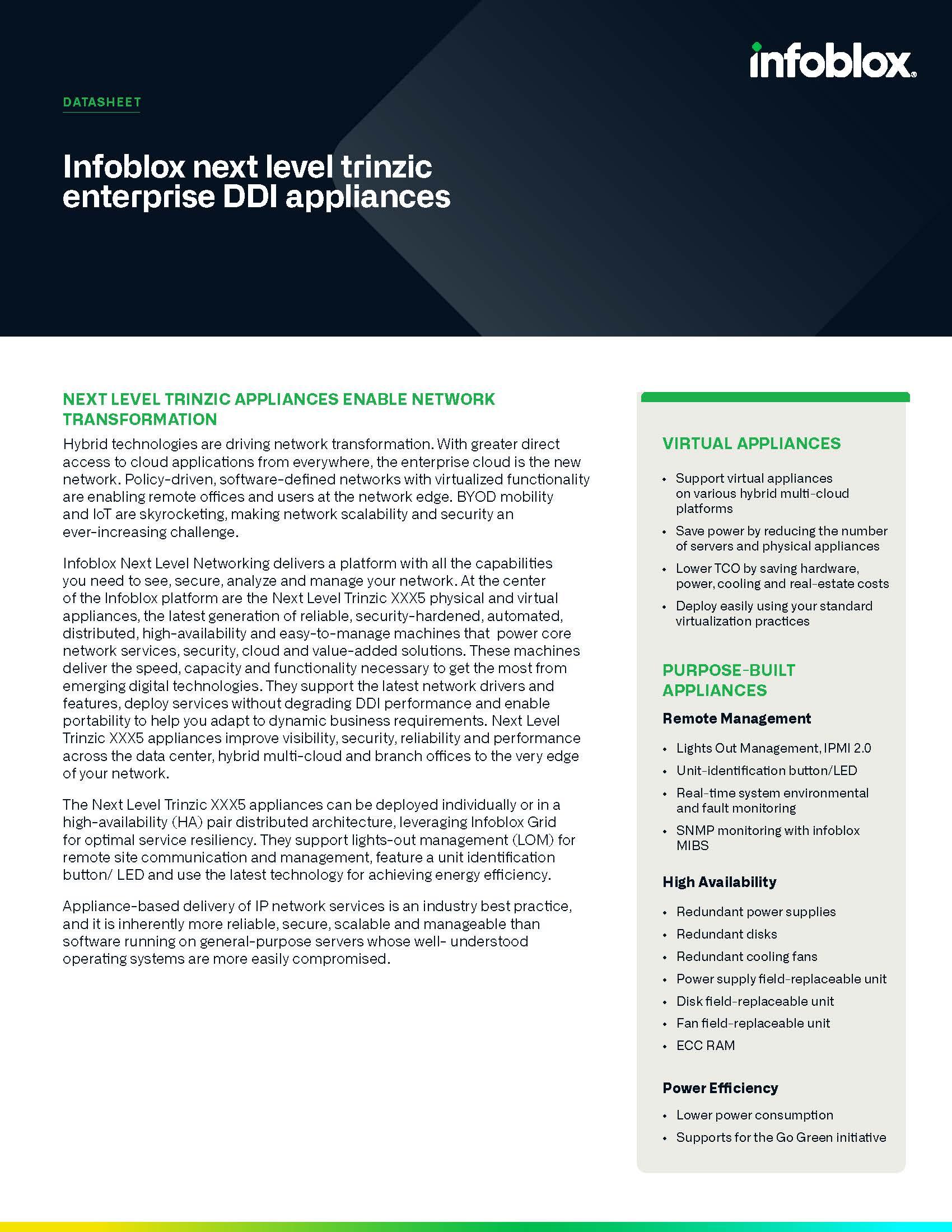 Infoblox Next Level Trinzic Enterprise DDI Appliances