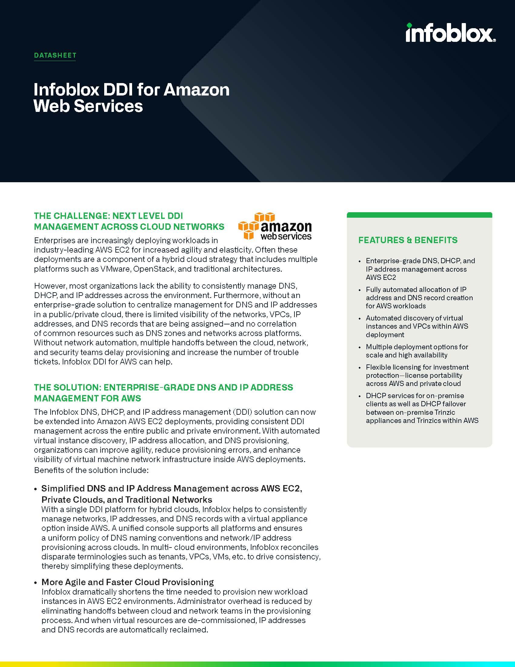 Infoblox DDI For Amazon Web Services