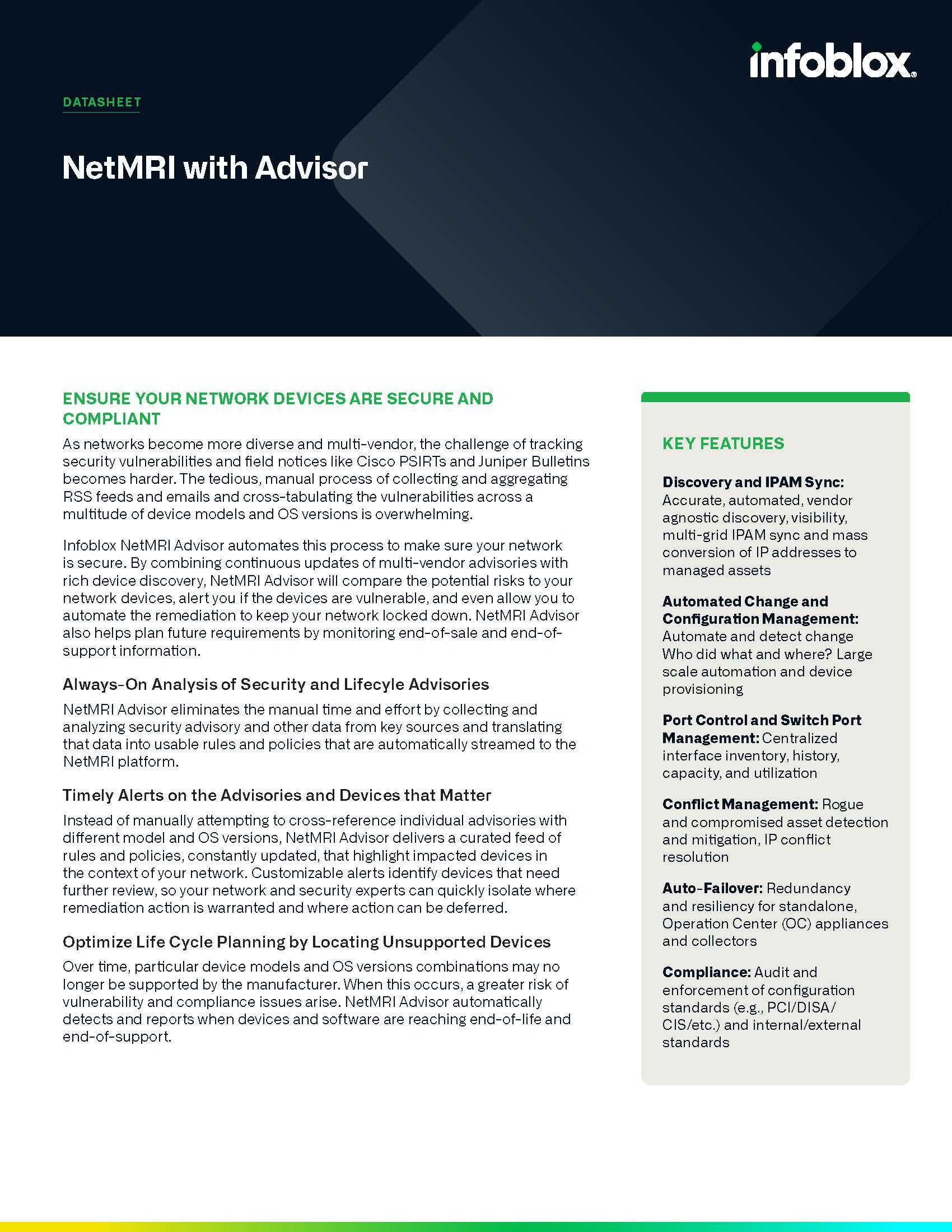 Infoblox NetMRI Advisor