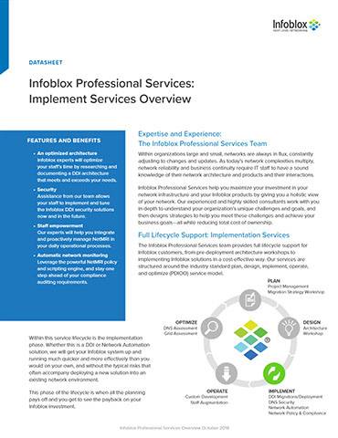 Infoblox Professional Services: Implement Services Overview