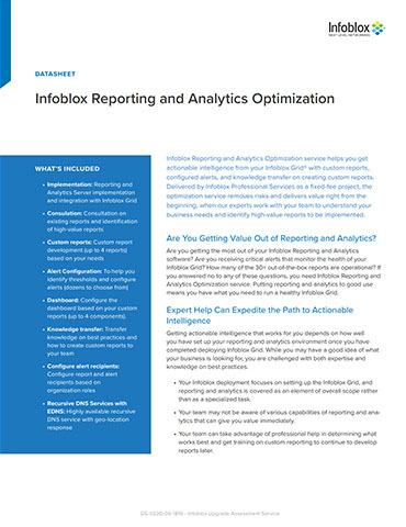 Infoblox Professional Services: Infoblox Reporting And Analytics Optimization