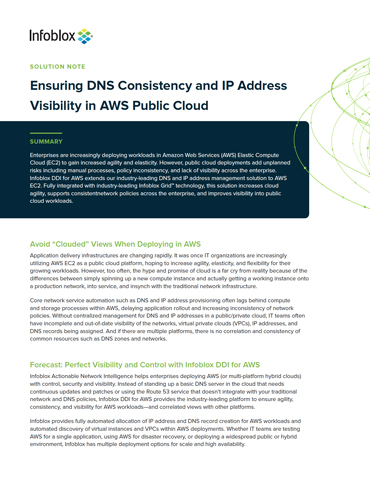 Ensuring DNS Consistency And IP Address Visibility In AWS Public Cloud