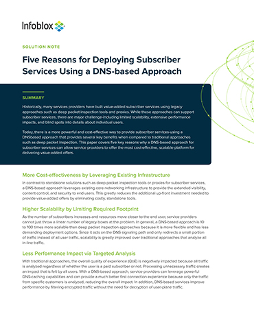 Five Reasons For Deploying Subscriber Services Using A DNS-based Approach