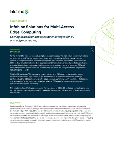 Infoblox Solutions For Multi-Access Edge Computing