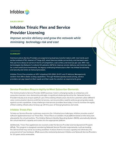 Infoblox Trinzic Flex And Service Provider Licensing