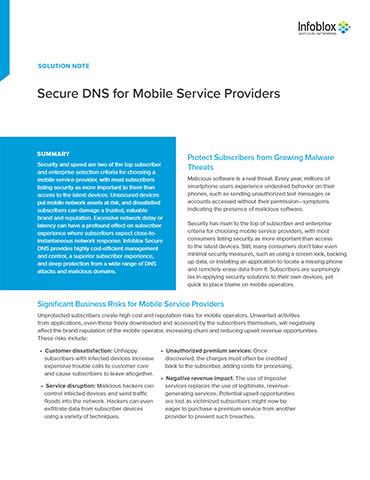 Secure DNS For Mobile Service Providers